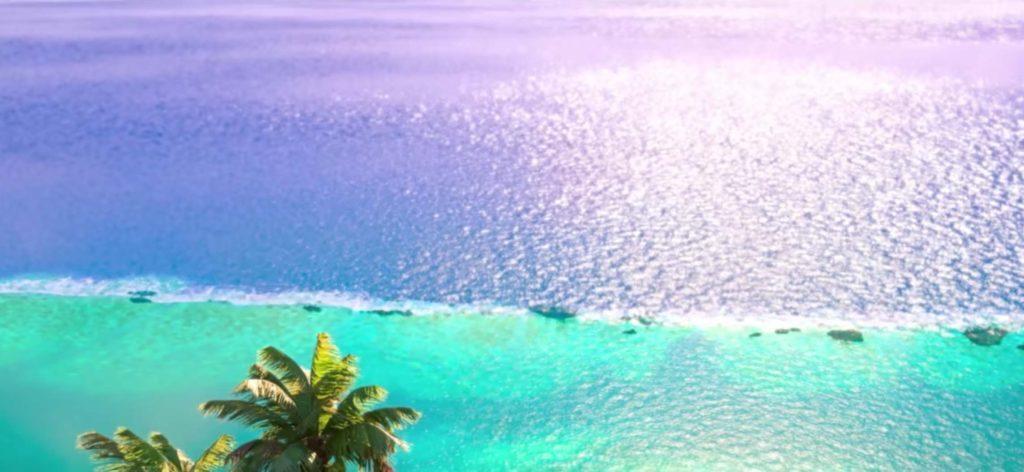 Cena do filme Moana – a barreira de corais que forma a lagoa de Motu Nui