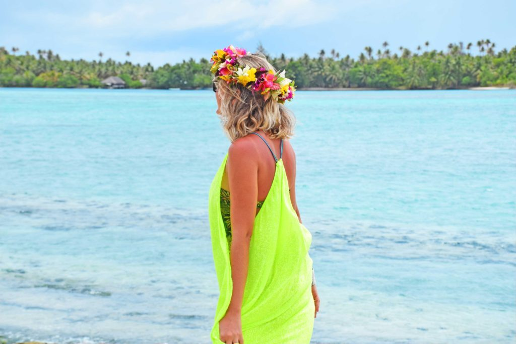 Vida real – coroa de flores que ganhei na ilha de Huahine, Polinésia Francesa