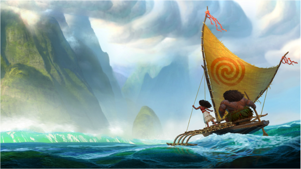 Cena do filme – Moana e Maui na Pirogue