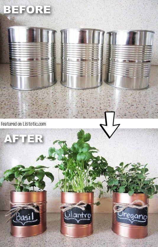 mini jardim de temperos : mini jardim de temperos:Ideias de mini vasos improvisados para cultivar temperos em casa