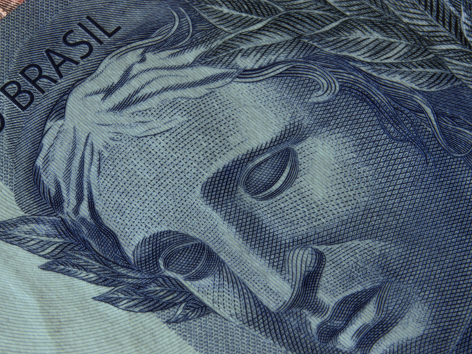 Close-up of brazilian currency notes