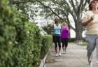 Grupo de mulheres caminham ao ar livre