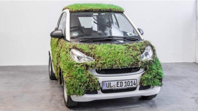 Carro coberto por cinco metros quadrados de grama promete limpar o ar enquanto circula