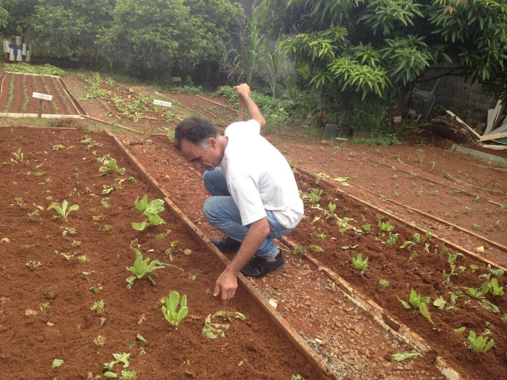 Nicanor Nunes trabalha com a terra na Casa Porto Seguro