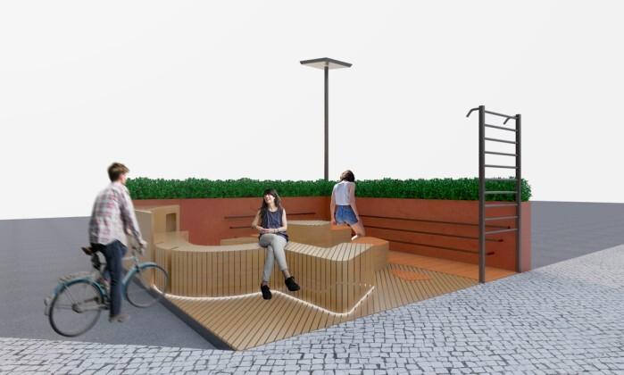 Espaço de 20m2 conta com barras para alongamentos, bancos para descanso e carregadores de celular