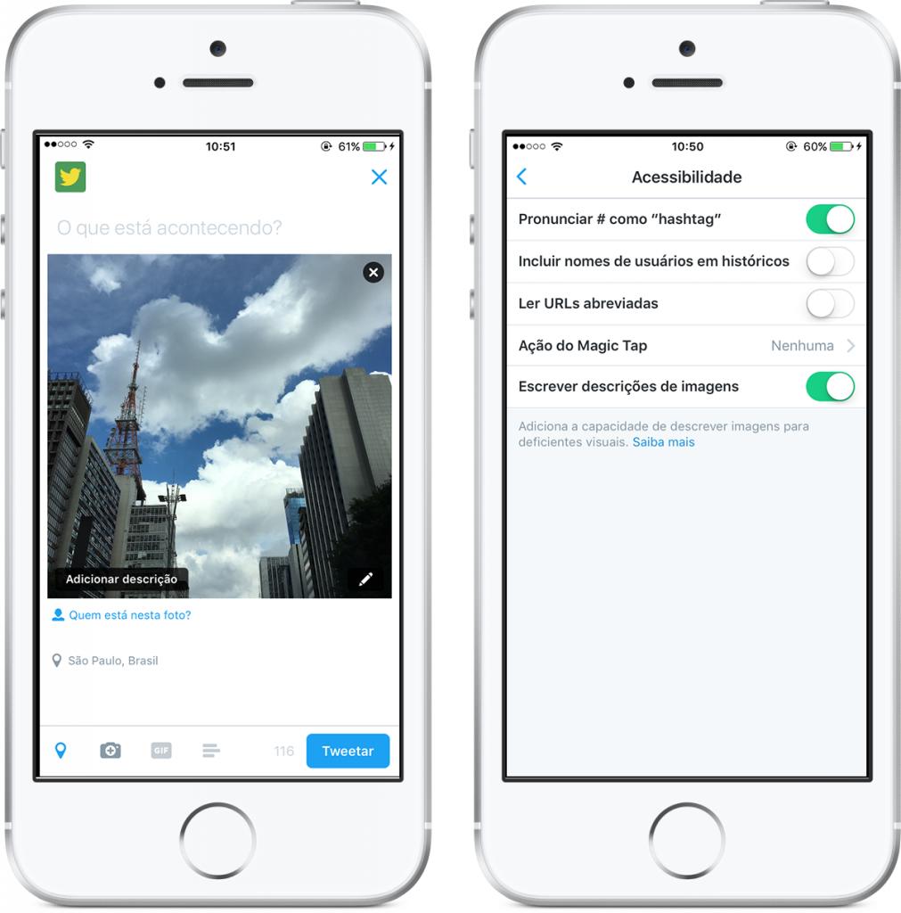 Reprodução de telas do Twitter com nova ferramenta acessível