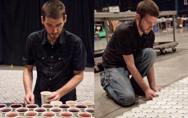 O artista Serge Belo, que criou uma obra com 66 mil copos biodegradáveis