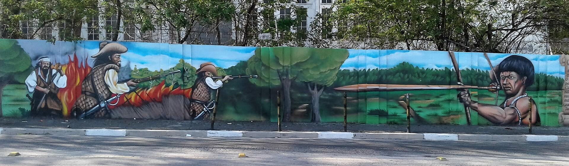 Grafite mostra conflito entre Bandeirantes e indígenas, nos idos de 1500