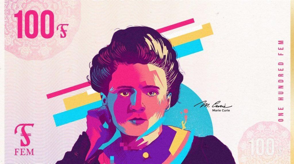 Nota de 100 FEMs criada por loja Paisley, com Marie Curie ilustrada, criada para reduzir a diferença salarial entre gêneros