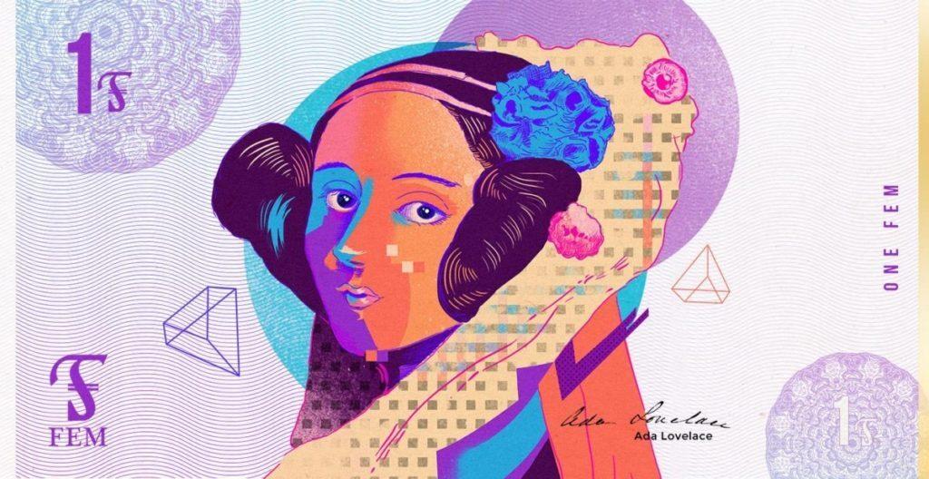 Nota de 1 FEM, com escritora inglesa Ada Lovelace ilustrada