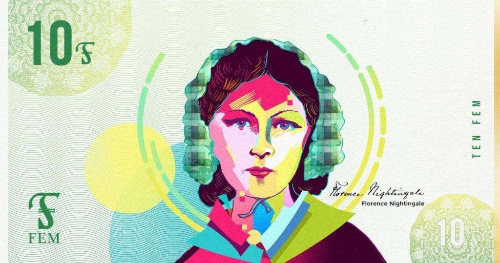 Nota de 10 FEMs, com economista polonesa Rosa Luxemburgo ilustrada