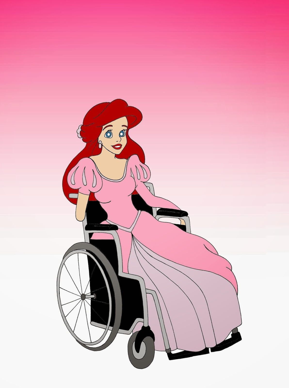 Disabled Disney Princess Ariel The Little Marmaid Disabled Disability Equal Rights Wellchair Health Art Campaign ADV Cartoon Painting Portrait Illustration Sketch Humor Chic by aleXsandro Palombo