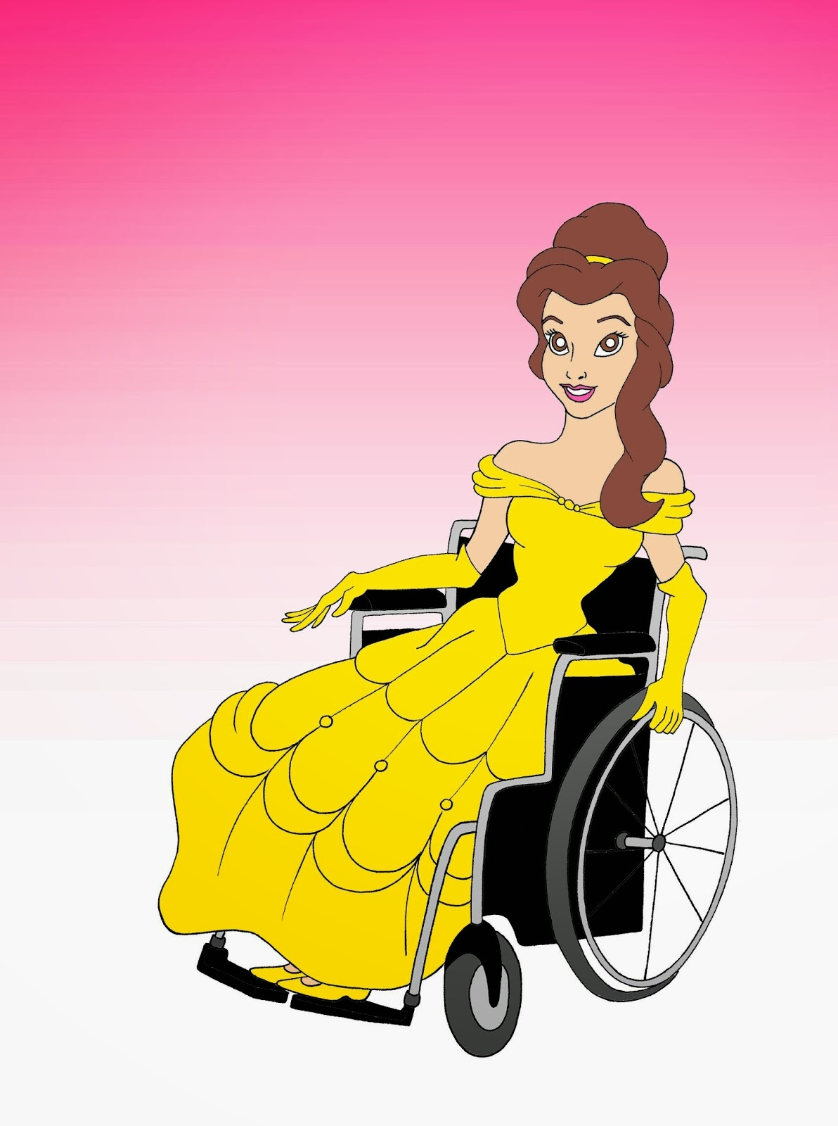 Disabled Disney Princess Belle Disabled Disability Equal Rights Wellchair Health Art Campaign ADV Cartoon Painting Portrait Illustration Sketch Humor Chic by aleXsandro Palombo