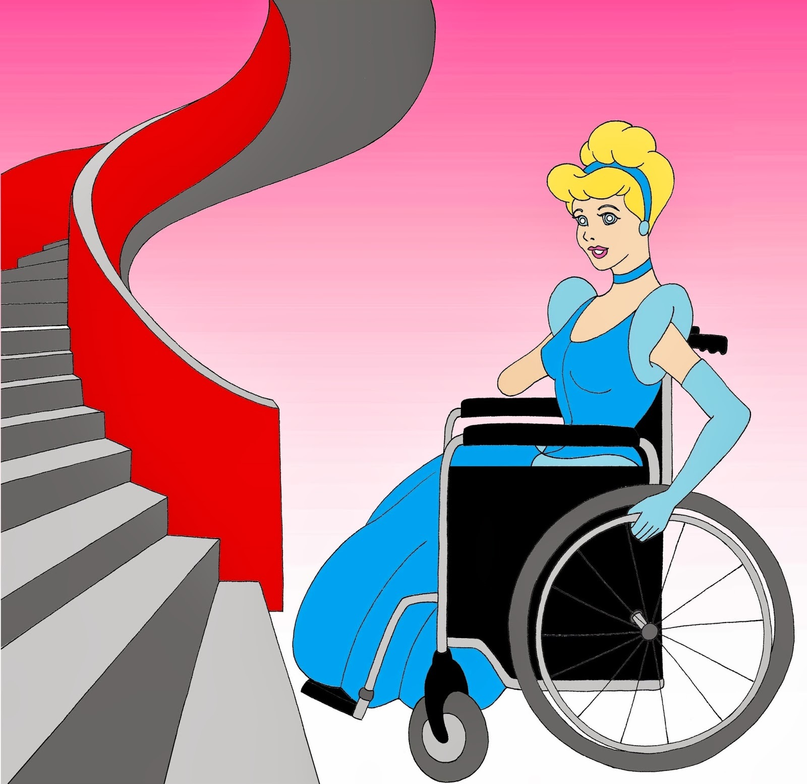 Disabled Disney Princess Cinderella All access for all  Disabled Disability Equal Rights Wellchair Health Art Campaign ADV Cartoon Painting Portrait Illustration Sketch Humor Chic by aleXsandro Palombo