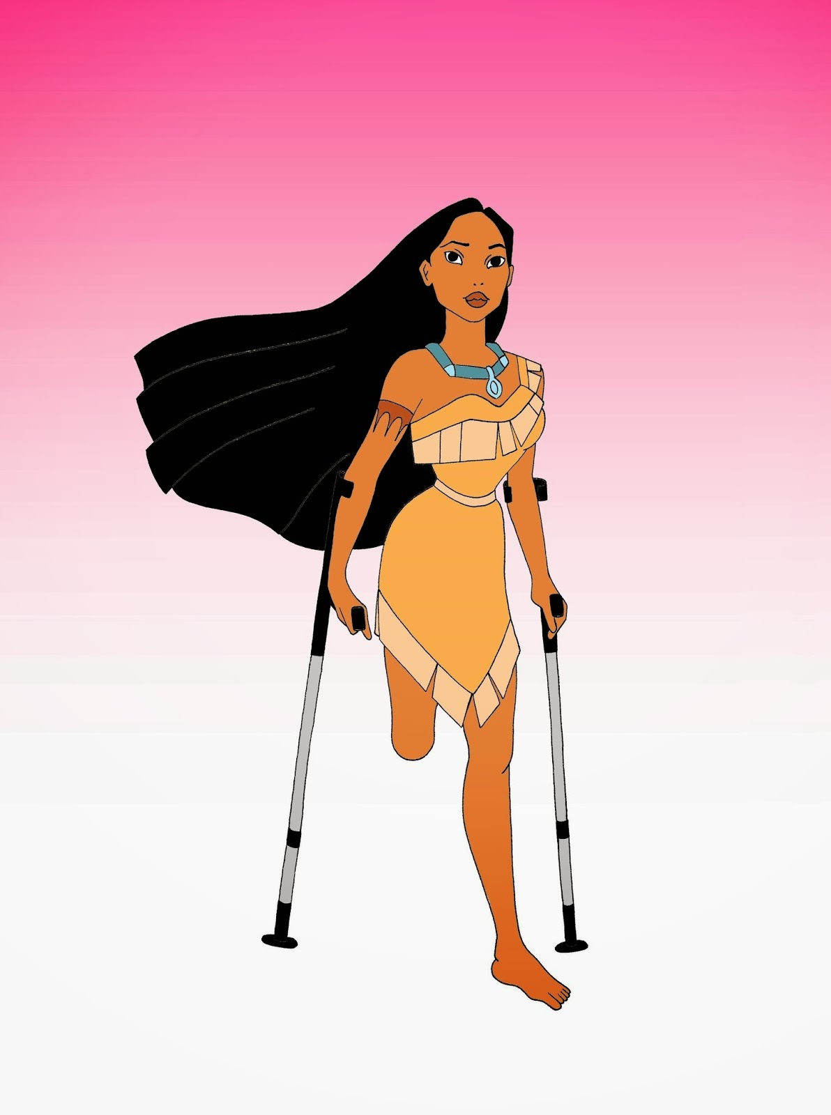 Disabled Disney princess Pocahontas Disabled Disability Equal Rights Wellchair Health Art Campaign ADV Cartoon Painting Portrait Illustration Sketch Humor Chic by aleXsandro Palombo