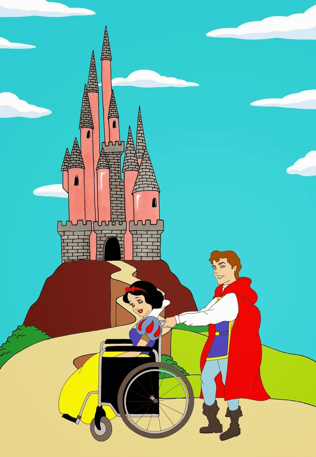 Disabled Disney princess Snow White and Prince Charming Disabled Disability Equal Rights Wellchair Health Art Campaign ADV Cartoon Painting Portrait Illustration Sketch Humor Chic by aleXsandro Palombo