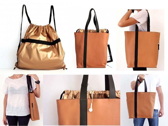 BG-UNO WHISKY: Tote bag de couro com forro removível e à prova d'água.