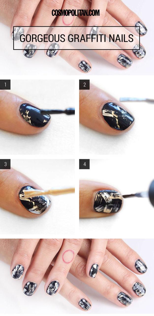 Aprenda a fazer 27 truques r pidos de nail art e economize - Easy nail designs you can do at home ...