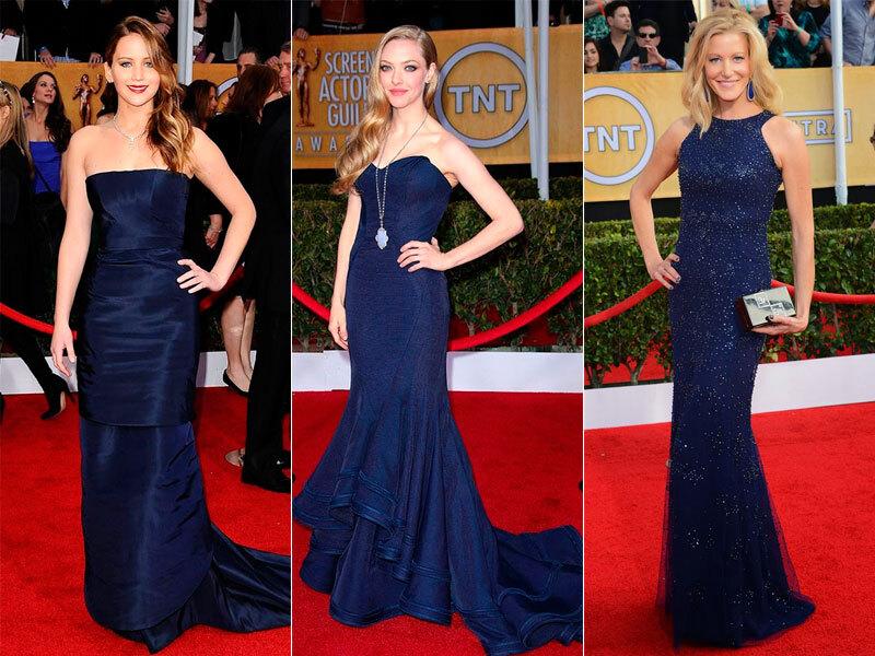 Imagem: Reprodução / Jennifer Lawrence de Christian Dior, Amanda Seyfried de Zac Posen e Anna Gunn de Antonio Berardi
