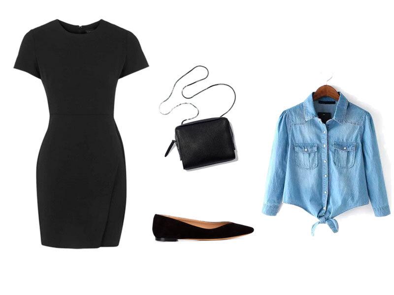 Fotos: Polyvore - Montagem: Estilo Catraca Livre / Camisa jeans amarrada, sapatinha de bico fino e bolsa transversal compoem um modelito casual chic