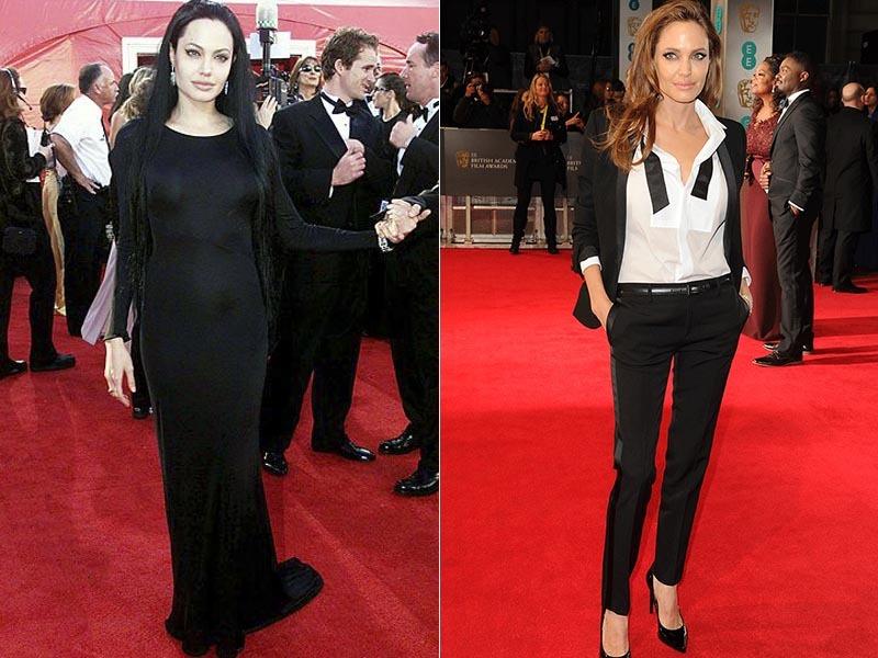 Hoje em dia Angelina Jolie é uma pessoa séria, mãe de família e envolvida em ações sociais, mas há alguns anos ela curtia um estilo gótico esquisito.