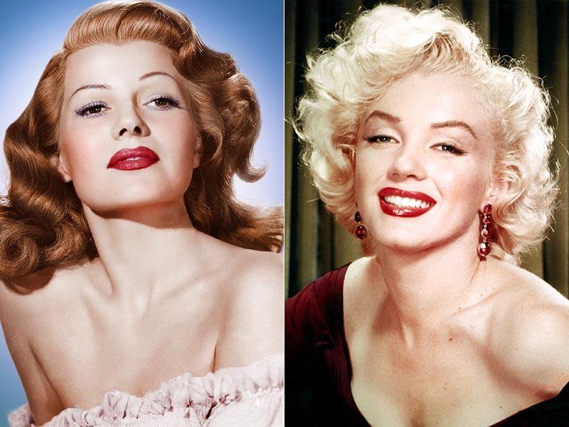 Rita Hayworth e Marylin Monroe e seus batons vermelhos