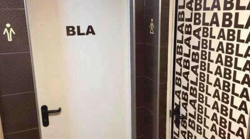 Imagem de banheiro masculino e feminino provoca críticas na internet -> Banheiro Feminino Bla Bla Bla