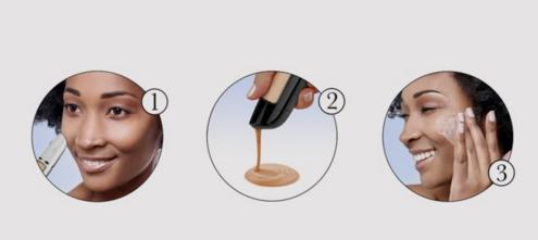 Encoste a caneta no rosto, espere a mistura de cor ficar pronta e voilà, aplique a base líquida na cor ideal para a sua pele