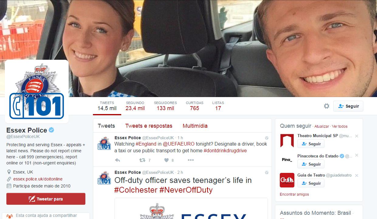 O departamento policial de Essex colocou a foto como imagem de capa nas redes