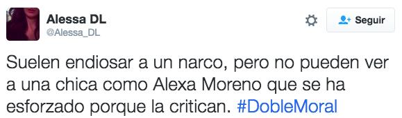 """""""Só sabem endeusar um traficante, mas não podem ver uma menina como a Alexa Moreno, que tem se esforçado, porque a criticam #MoralDupla"""""""