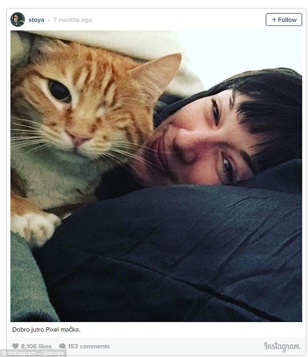 A atriz norte-americana Stoya e seu gato Moggy