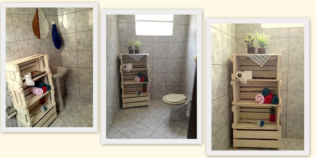 Caixotes de feira podem ser usados na decoração com estilo e bom gosto; confi -> Banheiro Decorado Com Caixote De Feira